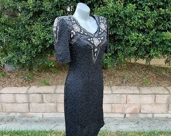 Vintage Beaded Dress, Black, Holiday Christmas, Pageant Dress,  Black Tie, Cocktail, Glamour, Fall Fashion, Size Small - Medium