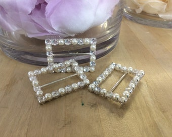 """Buckles- Rhinestone Pearl Buckle slider with  embellishments-1 1/2"""" x 1"""" wholesale notion supplies sewing embellishment metal buckles"""