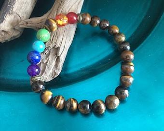 Yoga Bracelet 7 Chakras with Tigers Eye Beads Reiki Prayer Bracelet