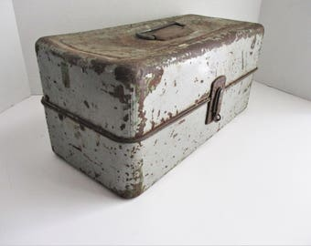 Vintage Union Metal Fishing Tackle Tool Box 1950's Craft Storage Gray Metal Industrial Decor