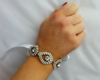 Crystal Wedding Bracelet with Rhinestone Teardrops and Satin Bow