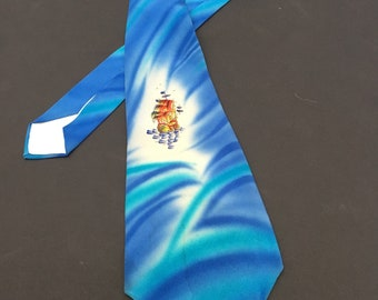 Vintage 1940s Hand painted Necktie - Pirate Ship