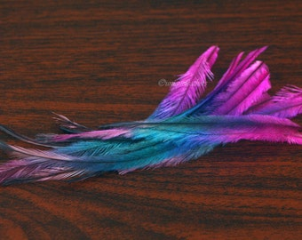 """Feather Extensions Rainbow Emu Feathers Pink Blue Purple 12 Pack 4-7"""" Molted Plumes"""