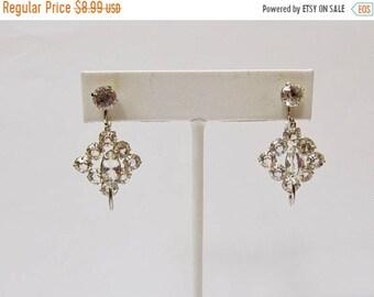 On Sale Vintage 1/20 12kt Gold Filled Crystal Dangle Earrings Item K # 1310