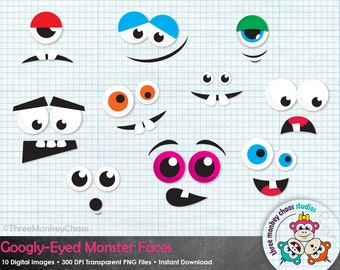 Halloween Clipart | Monster Faces Clipart | Googly-Eyed Monsters | Funny Faces | Digital Scrapbooking