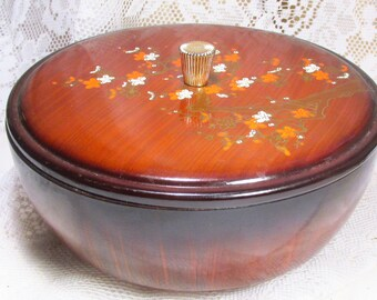 Vintage 1950's Lida's Japan black lacquered wood bamboo bowl.