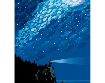 Landmark MN   Lake Superior Starry Night by Mark Herman