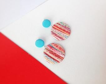 Polymer Clay Earrings / Statement Earrings / Geometric Earrings / Gifts for Her / Dangle Drop Earrings / Fashion / Handmade