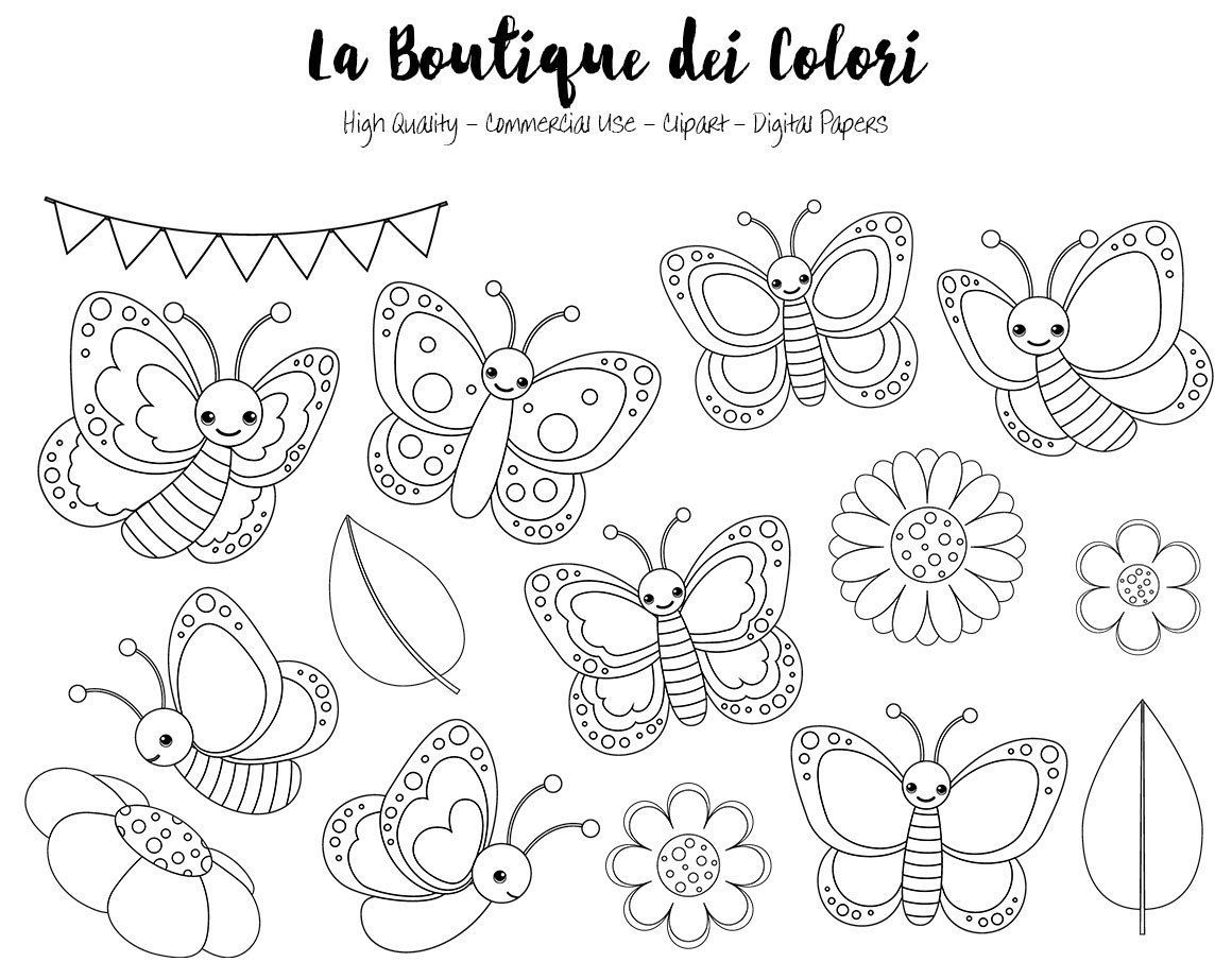 Pastel Butterfly Digital Stamps Clipart Cute PNG Spring