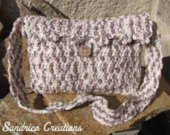 Small knitted pastel colors hand crocheted shoulder bag