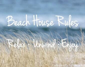 Beach Art, Coastal Canvas Wrap, Beach House Rules, Coastal Wall Art, Canvas Print, Beach Quotes, Beach Grass and Ocean Photo, Beach Decor