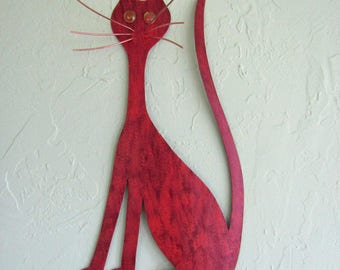 Metal Wall Art Cat Sculpture Kitty Decor Red Orange Recycled Metal Large Cat Indoor Outdoor Animal Art 20 x 11