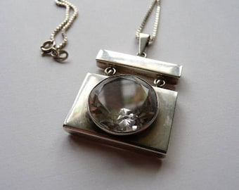 Danish Scandinavian mid century modernist designer signed sterling silver pendant with rock crystal from 1970s