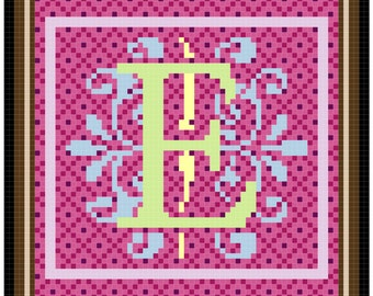 Counted Cross Stitch Alphabet Pattern - Modern Monograms 71 x 71
