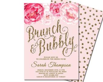 Brunch and Bubbly Bridal Shower Invitation, Floral Confetti Bridal Shower Invite, Pink Gold Glitter Invitation, DIY Printable