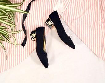 black satin pumps / gold heels / 8.5 - 39 / low heel pumps / elephant heels / statement heel / block heel loafer / fabric heel