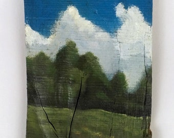 """Landscape painting """"skyward"""", acrylic on wood, clouds, sky,blue,green, earth, nature, reclaimed wood, wood art"""