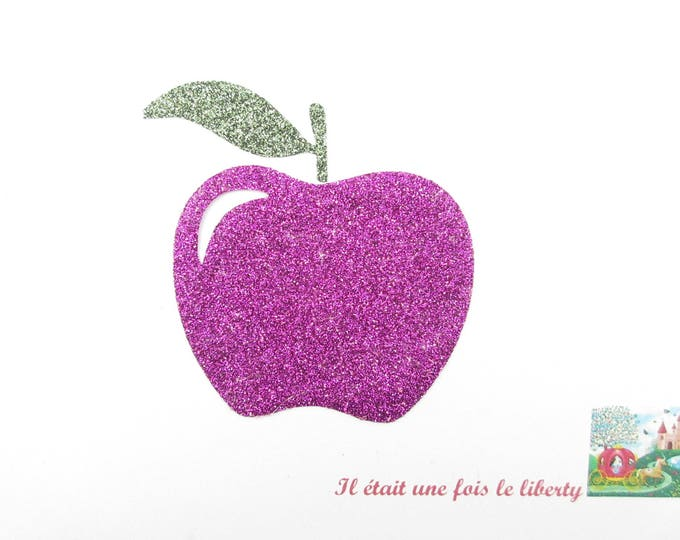 Applied fusible Apple chewable glittery fabric fuchsia patch iron on glitter Apple applique Apple patterns fusing apple