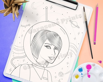 Space Adventurer - Coloring Page Instant Download Printable