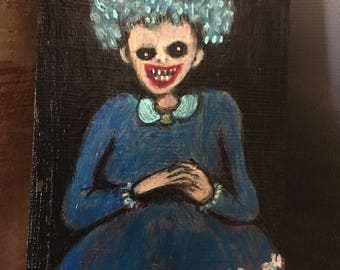 "ACEO Original Acrylic Painting ""the evil inside"""