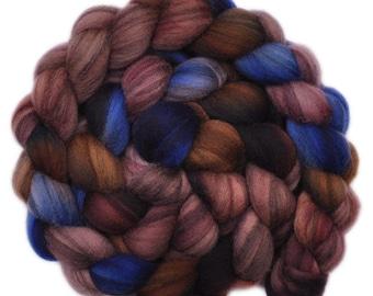 Hand dyed roving - Merino Humbug wool combed top spinning fiber - 4.2 ounces - Strange Night 2