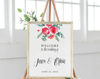 Flower Welcome Wedding Sign, Welcome to Our Wedding Sign, Large Wedding Sign, Custom Wedding Signs, Wedding Signs Printable, SKU: S016