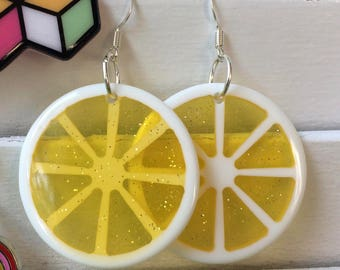 sparkly lemon slice earrings