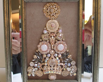 Jeweled Framed Jewelry Art Christmas Tree Champagne Beige Gold Mirrored Frame