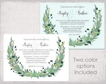 "Rustic Wedding invitation templates Watercolor olive ""Wreath"" printable garland wedding invitations template Editable Word digital download"