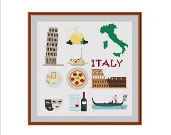 Italy cross stitch, Italy map, Rome, Venice, Coliseum, Leaning Tower of Pisa, Italian food, Italian wine, Italian art, Olive oil, Gondola