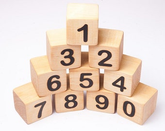 Wooden toy, building blocks,  math blocks, educational numbers, counting blocks, eco fiendly toy