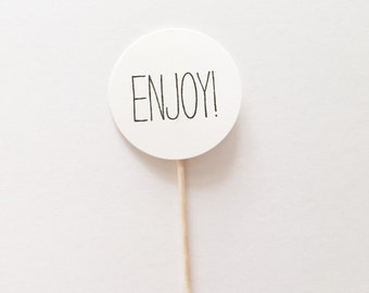 "Hand-Stamped ""ENJOY!"" Round Party Pick CUPCAKE Toppers"