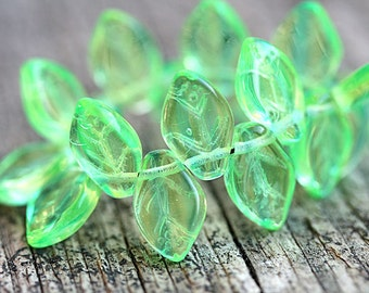 Green and Yellow leaves, Czech glass beads, green leaf beads, 12x7mm - 25Pc - 0060