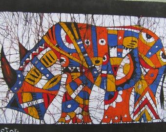 Batik painting,Rhino batik,Rhinoceros,Batik fabric,Batik,Rhino batik fabric,Painting Afro canvas,Peinture Africaine,Mozambique,Batik art
