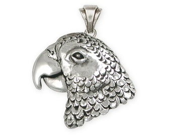 Solid African Grey Parrot Pendant Jewelry Sterling Silver AFG2-P