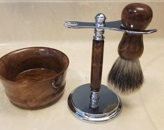 Hand crafted  shaving set  in oak burl wood and chrome