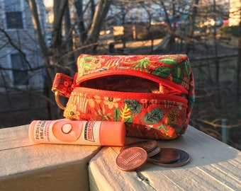 Colorful Jungle Print Keyring Zippered Coin Pouch