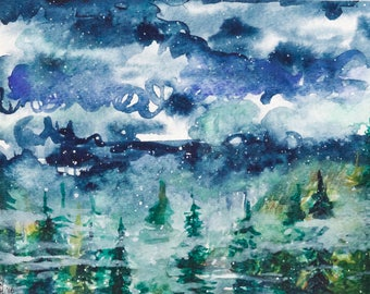 Original Watercolor - A Wintry Mix