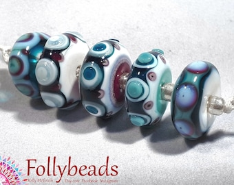 Handmade Lampwork Artisan glass disk beads in White, Teal, Red and Blue.