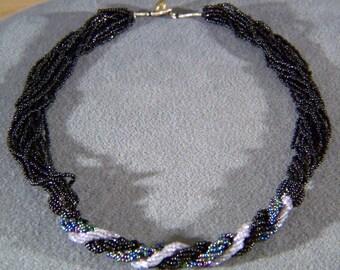 Vintage  Twisted 12 Strand Multi Round Jet Black Aurora glass  bead necklace      W