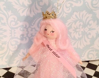 Best sister doll ornament pink and gold sister ornament vintage retro inspired pageant girl queen
