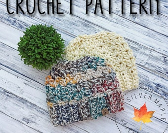 MESSY BUN Hat Pattern, Crochet Hat Pattern, Messy Bun Beanie, Ponytail Beanie, Crochet Pattern, Bun Hat Pattern, Chunky, EDGEWATER Beanie