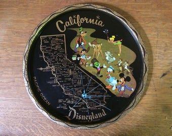 California, Disneyland Vintage Metal Decorate Plate