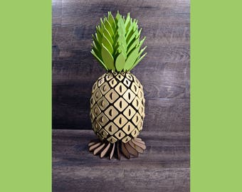 Wood Cut Pineapple Accent Lamp Kit.  Free Remote control RGB LED puck .