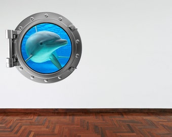Full Colour Wall Decal Dolphin v2 Silver Porthole Wall Sticker Ocean Sea Life Flipper Kids Children