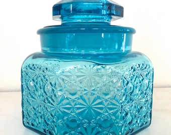 Vintage Glass Blue Jar