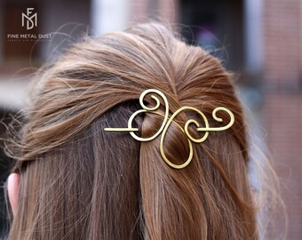 Butterfly hair barrette in brass or copper - Metal hair slide for half updo - Gift for her - Celtic spirals clip - Brass hair pins