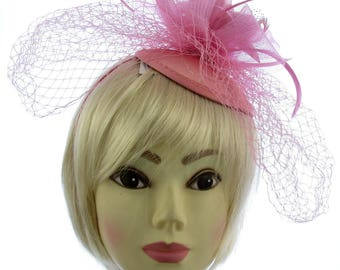 Dusky Pink fascinator  hatinator on a juliet cap and headband with flower and netting, Weddings, Races, Prom