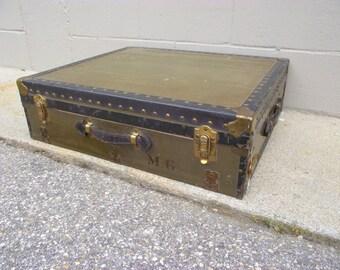 Vintage Military Mobile Field Desk Suitcase Storage Trunk Case   All  Original   Command Post