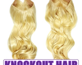 "Fits like a Halo Hair Extensions 20"" - 150 Grams 100% Premium Fiber Wavy Hair (Lightest Blonde - #613)"